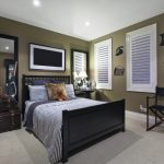 : dark green wall bedroom color inside black furniture bedroom decorating ideas be equipped antique storage bench bedroom also large mirror for wall & white shutter blinds & rug