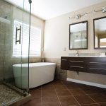: elegant bathroom remodel with modern wall mount vanity and double vanity mirror design also terracotta floor tile be equipped walk in shower glass walls and wall brown