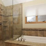 : marble tile walk in shower for good bathroom remodel ideas be equipped with bathtub shower with faucet bronze and window treatment ideas and also paint the wall brown color