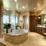 : master bathroom elegant and large with awesome bathtubs in the middle plus black mirror decoration be equipped with large bathroom cabinet wooden with antique bathroom vanity