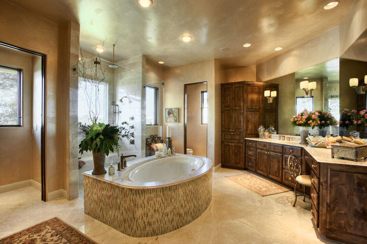 master bathroom elegant and large with awesome bathtubs in the middle plus black mirror decoration be equipped with large bathroom cabinet wooden with antique bathroom vanity