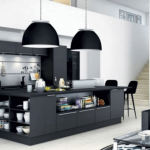 : pitch black kitchen cabinet for black kitchen modern will give the impression of elegant for a room kitchen a great plus black pendant lighting also sofa furniture set