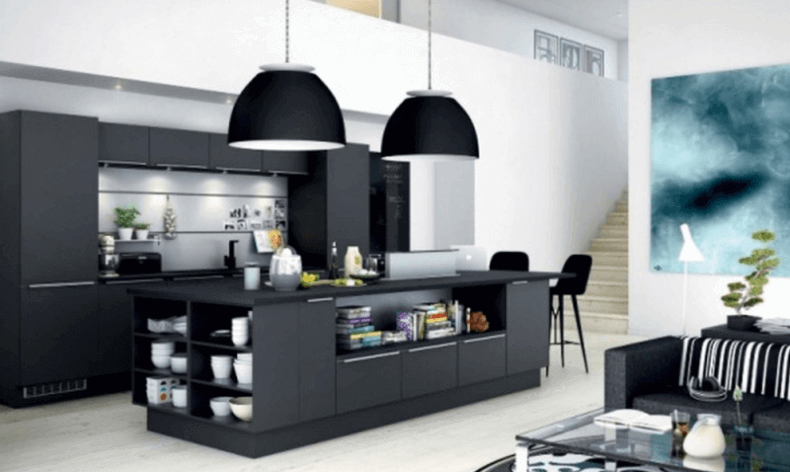 pitch black kitchen cabinet for black kitchen modern will give the impression of elegant for a room kitchen a great plus black pendant lighting also sofa furniture set