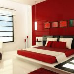 : red bedroom color ideas for luxurious large bedroom design with black headboard be equipped glass contemporary pendant light and modern ceramic flooring also modern furniture