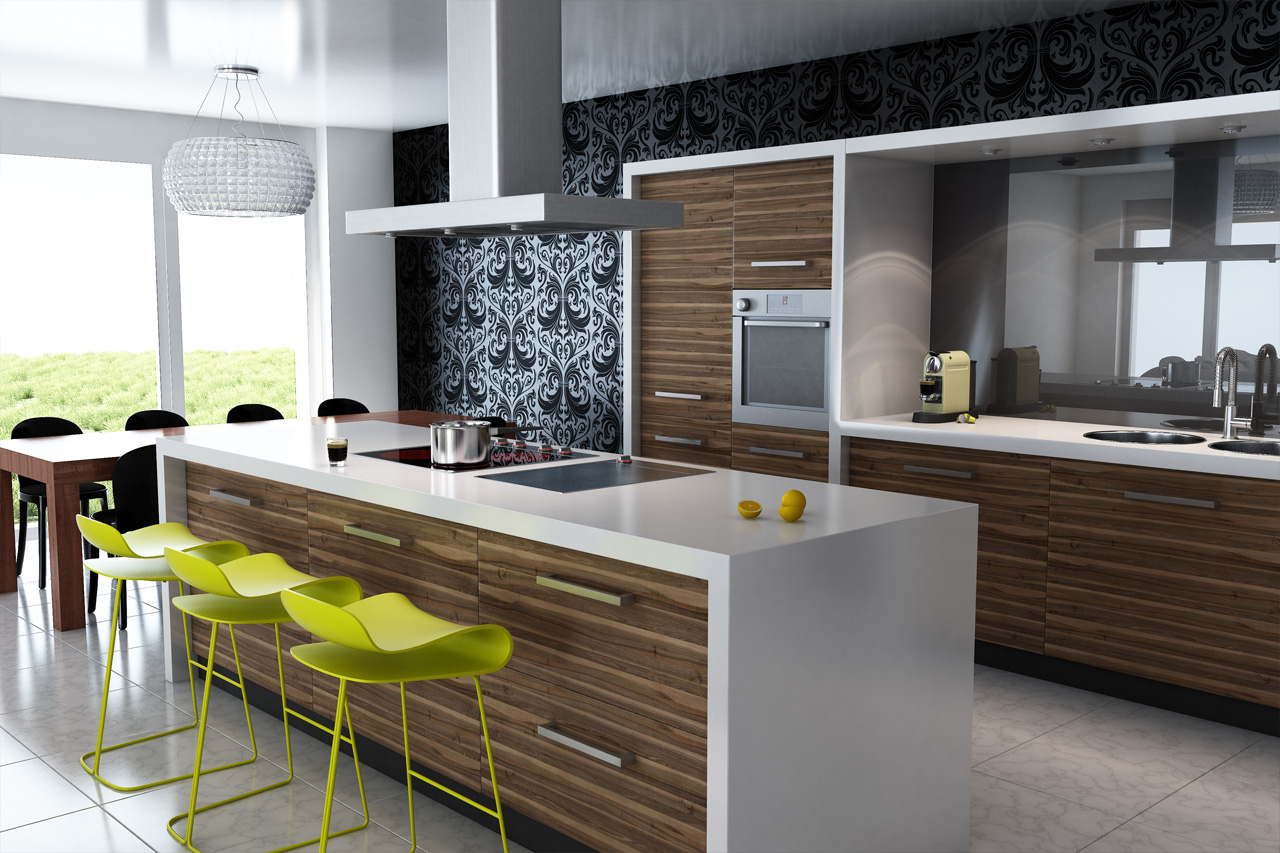 simple ideas for kitchen modern with wall decoration plus kitchen island breakfast bar also equipped with luxury kitchen cabinet and also best dining table