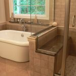 : walk in shower seat for small concept bathroom remodel be equipped with white small bathtub and window over bathtub and also wooden bathroom shelf with beautiful flooring