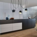 : white and black kitchen island for large kitchen modern with white and black kitchen cabinet and also black led lighting pendant with cool wooden flooring will give impression