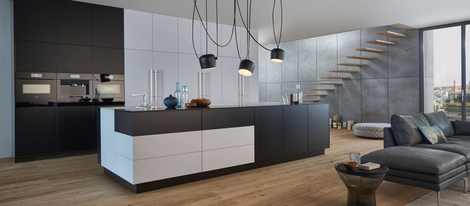 white and black kitchen island for large kitchen modern with white and black kitchen cabinet and also black led lighting pendant with cool wooden flooring will give impression