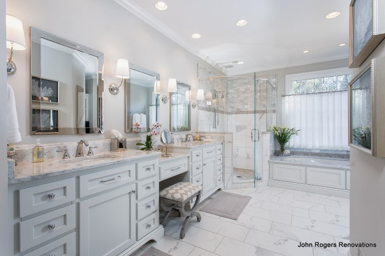white double sink bathroom vanity set in with marble countertop & mirror with wall sconce lighting for bathroom home mirror light plus bathtub for master bathroom decoration