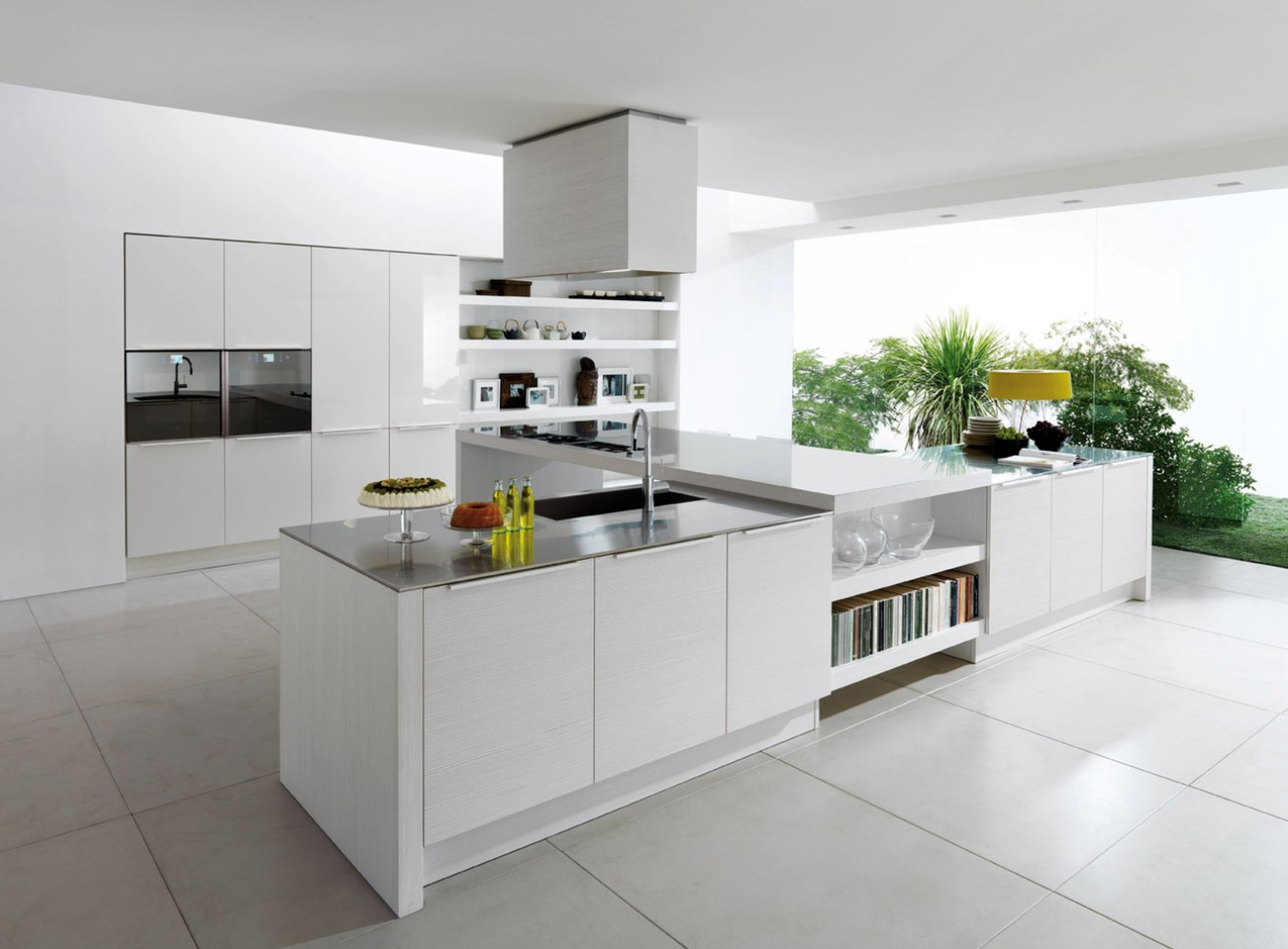 white kitchen cabinet modern for ideas modern kitchen plus large kitchen island white color with kitchen sinks also equipped with shelf cookbook and white marble flooring ideas