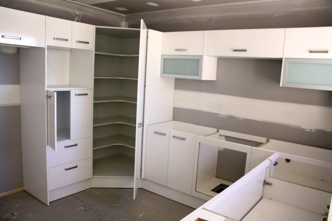Corner pantry cabinet and also small larder cupboard and also corner larder unit and also narrow kitchen pantry