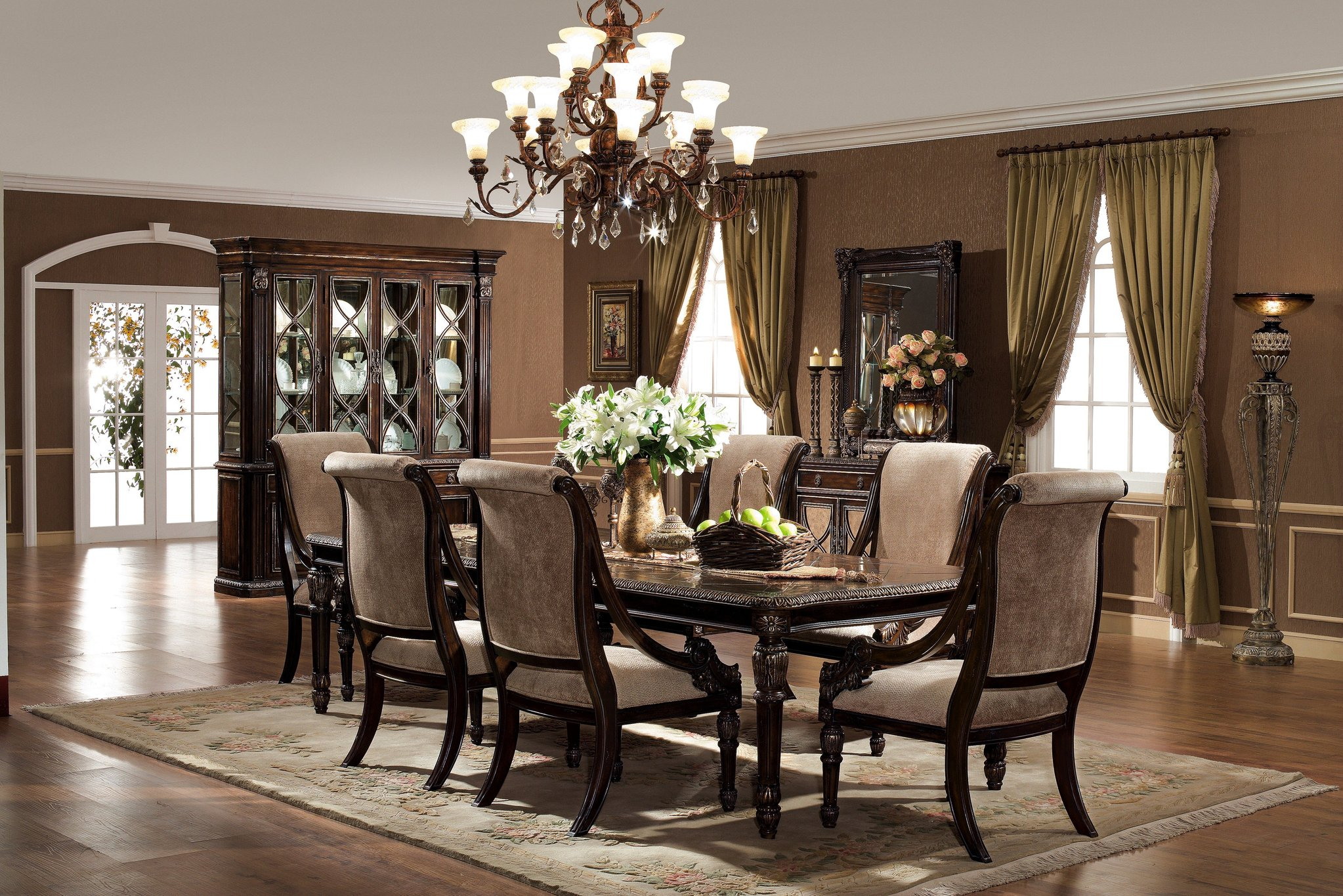 Formal dining room sets with dining room hutch with modern dining chairs with contemporary dining table
