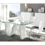 : Modern dining room sets with glass dining table with modern dining room chairs