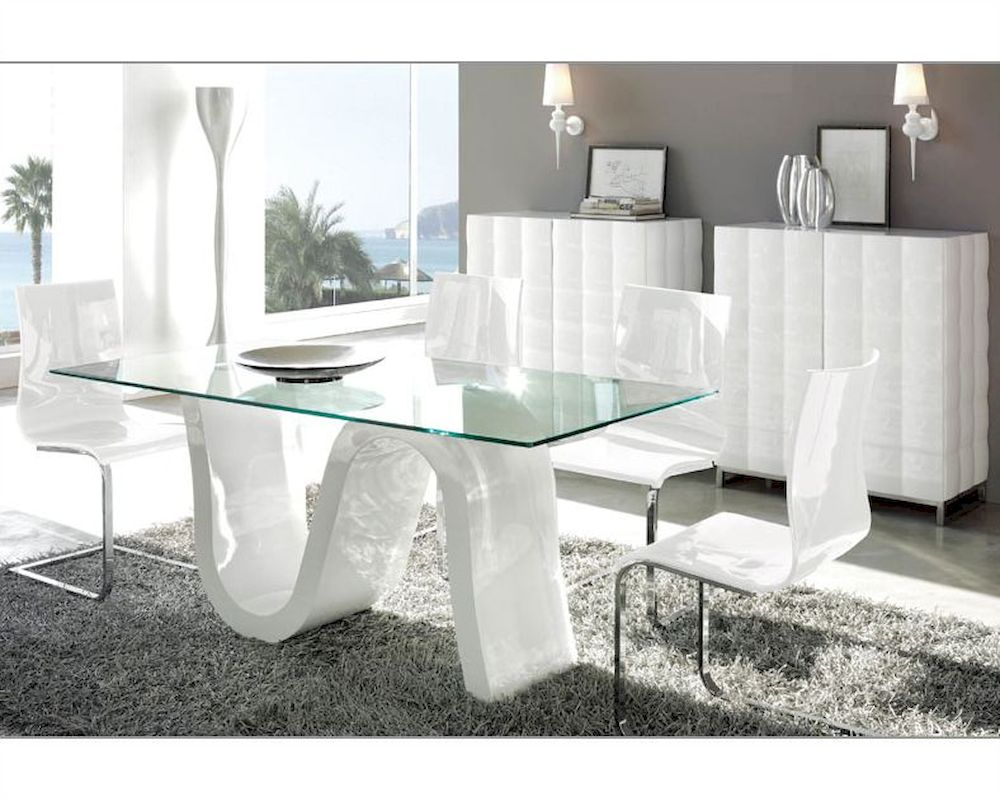 Modern dining room sets with glass dining table with modern dining room chairs