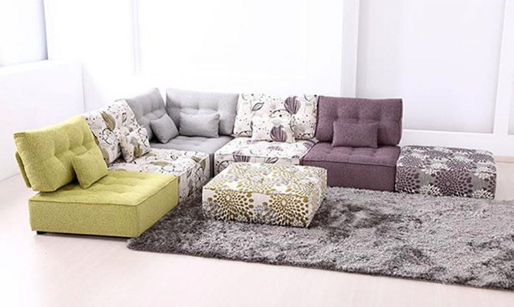aubrey velvet fabric modular living room furniture
