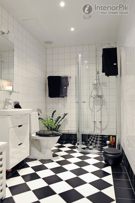 Black And White Bathroom Floor Vinyl Suitable With Black And